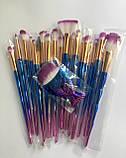 Набір якісних кісточок для макіяжу, 21 шт.  Фіолетово-голубі кисті для макіяжу в стилі Diamond.., фото 6