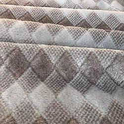 Плед покривало Ромбик Koloco 210х230 см Мікрофібра в сумці (Бежевий)