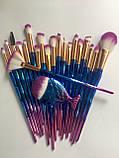 Набір якісних кісточок для макіяжу, 21 шт.  Фіолетово-голубі кисті для макіяжу в стилі Diamond.., фото 4