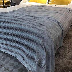 Плед покривало Ромбик Koloco 210х230 см Мікрофібра в сумці (Синій)
