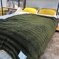 Плед покривало Ромбик Koloco 210х230 см Мікрофібра в сумці (Зелений)