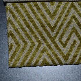 Мебельная ткань шенилл c геометрическим узором ромб Бламо (Blammo) салатового цвета