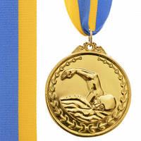 """Медаль """"Плавання"""" діаметр 5 см з стрічкою"""