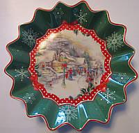 Тарелка круглая с новогодним рисунком