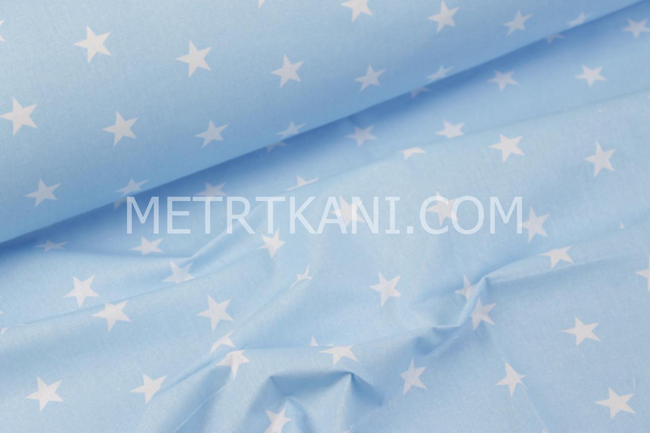Лоскуток. Хлопковая ткань  звезды 2см на голубом фоне , 30*56 см