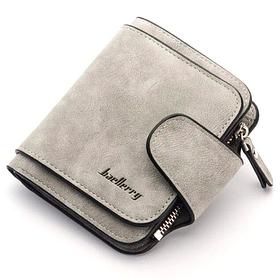 Кошелек женский Baellerry Forever Mini, компактный портмоне из замши, Светло-серый