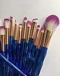 Набір якісних кісточок для макіяжу, 21 шт.  Фіолетово-голубі кисті для макіяжу в стилі Diamond.., фото 8