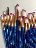 Набір якісних кісточок для макіяжу, 21 шт.  Фіолетово-голубі кисті для макіяжу в стилі Diamond.., фото 9