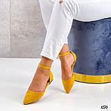 Балетки/ босоніжки жіночі жовті закриті з ремінцем еко замш, фото 3