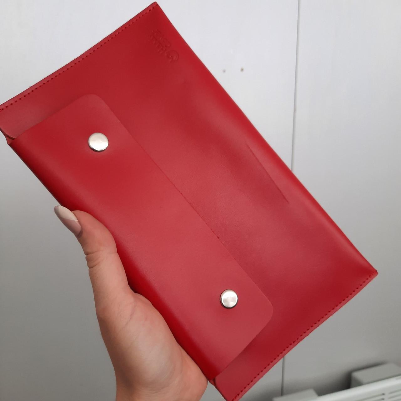 УЦІНКА!! Тревел-конверт для подорожей шкіряний на кнопках HC червоний