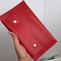 УЦІНКА!! Тревел-конверт для подорожей шкіряний на кнопках HC червоний, фото 1