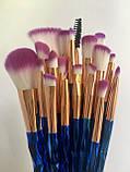 Набір якісних кісточок для макіяжу, 21 шт.  Фіолетово-голубі кисті для макіяжу в стилі Diamond.., фото 7