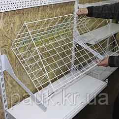 Сетчатая корзина на торговый стеллаж 950х400 мм, корзина на стеллаж Ристел, комплектующие Ристел