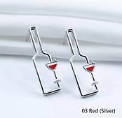 Серьги-гвоздики Бутылка вина красная