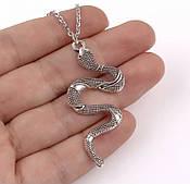Колье змея серебро бижутерия