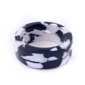 Ретро кольцо черно-белое толстое бижутерия