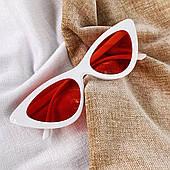 Солнцезащитные очки кошачий глаз белые с красными линзами