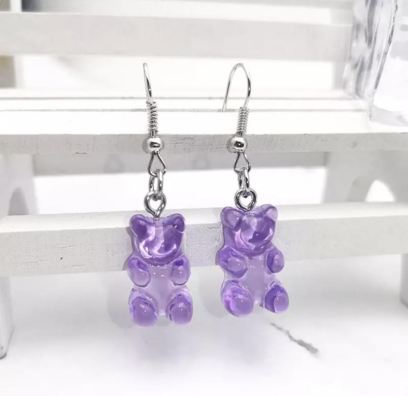 Сережки мишки фиолетовые