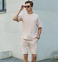 Спортивный костюм мужской летний комплект футболка шорты. Живое фото. Чоловічий спортивний костюм
