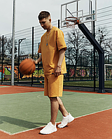 Мужской спортивный костюм оверсайз летний шорты и футболка (Oversize) оранжевый спортивный костюм летний