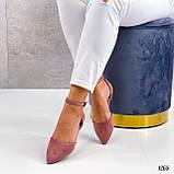 Балетки - босоножки женские розовые / пудровые эко замша, фото 5