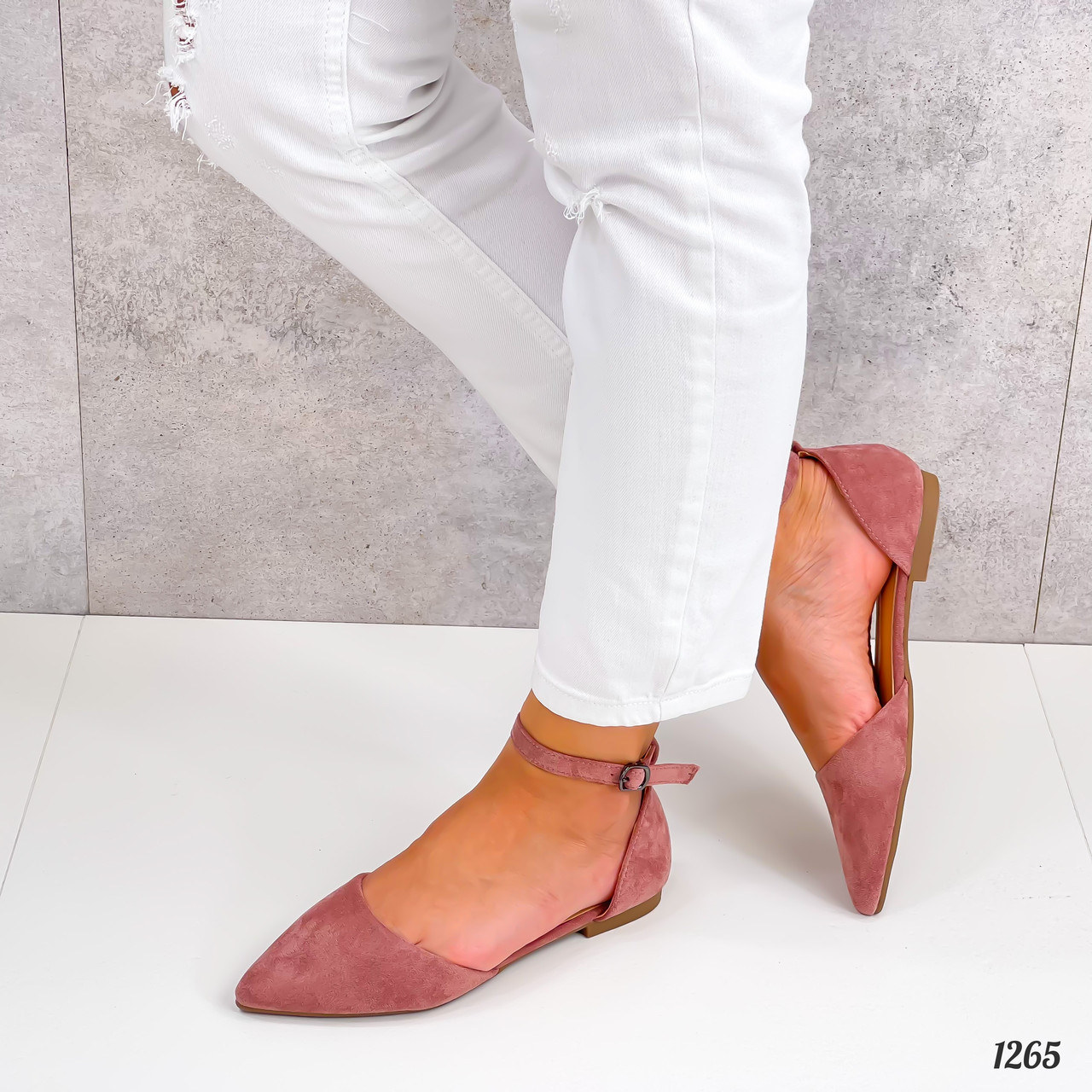 Балетки - босоножки женские розовые / пудровые эко замша