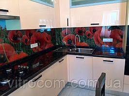 Кухонний скляний фартух маки
