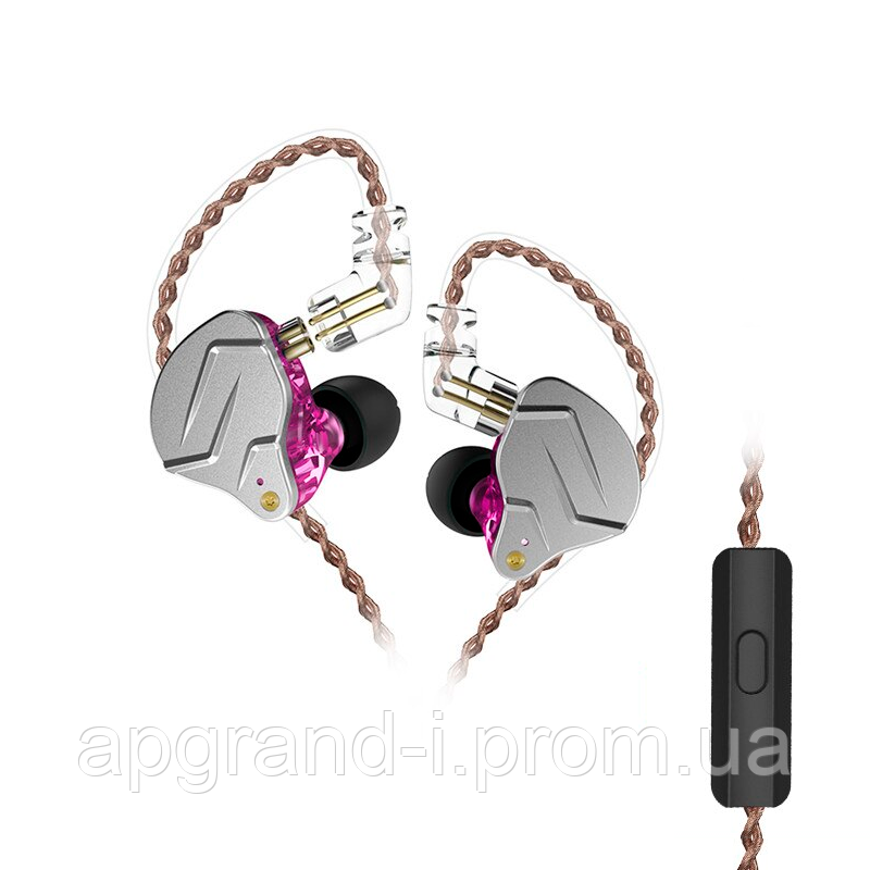 Навушники KZ ZSN Pro з мікрофоном purple