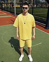 Мужской спортивный костюм оверсайз летний шорты футболка (Oversize) желтый мужской спортивный костюм летний