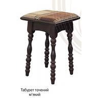 Табурет из дерева с мягким сиденьем