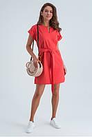 Легкое льняное летнее платье с коротким рукавом и поясом, длина выше колен. Кораллового цвета, фото 1