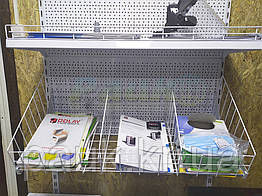 Разделитель товара в сетчатой корзине Ристел, пергородка для сетчатой корзины на торговом стеллаже