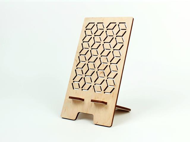Підставка для телефону з фанери з красивим геометричним малюнком