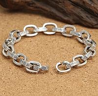 Мужской серебряный браслет Chrome Hearts Якорь 22 см 10 мм