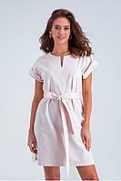Легкое льняное летнее платье с коротким рукавом и поясом, длина выше колен. Персикового цвета, фото 1