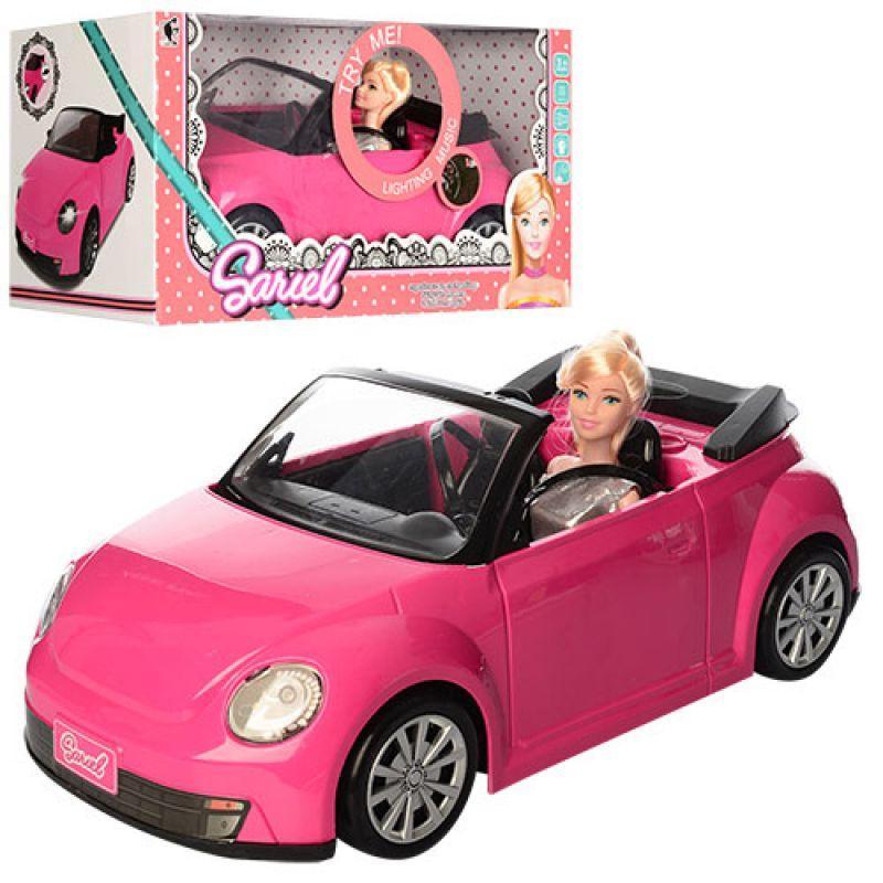 Яскравий рожевий автомобіль для ляльки висотою 27 см 6633-A, зі звуковими і світловими ефектами (довжина 43 см)