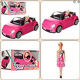 Яскравий рожевий автомобіль для ляльки висотою 27 см 6633-A, зі звуковими і світловими ефектами (довжина 43 см), фото 3