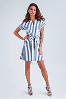 Легкое льняное летнее платье с коротким рукавом и поясом, длина выше колен. Белого цвета, голубая полоска, фото 1