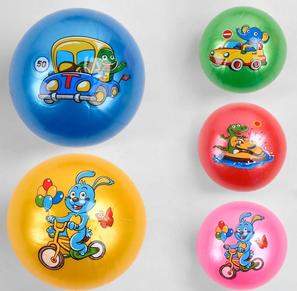 "Мяч резиновый ""Зверята на транспорте"" 5 видов, размер 9"", вес 60 грамм C 44680"