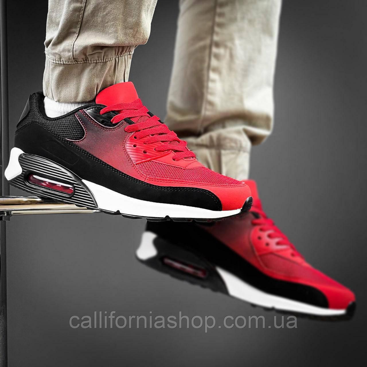 Чоловічі кросівки червоні з чорним з сіткою на білій підошві