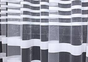 """Отрез (1,95х2,7м.) ткани, остаток с рулона. Фатин полосы, коллекция """"Катрин"""". Цвет белый. Код 205ту 00-580"""