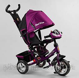 Велосипед для девочки с родительской ручкой Фиолетовый Best Trike 6588 с музыкальной панелью, колеса пена