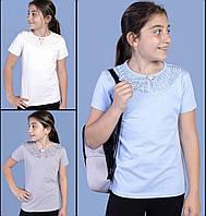 Шкільна блузка для дівчинки оптом 6-13 років блакитна, фото 1