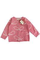 Кофта для дівчинки на гудзиках з кишенею LUPILU 74/80 світло рожевий-білий WE-550084