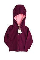 В'язана кофта для дівчинки на гудзиках, з капюшоном LUPILU 86/92 марсала WE-550085