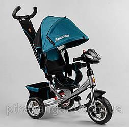 Детский велосипед с родительской ручкой Бирюзовый Best Trike 6588 колеса пена, музыкальная панель