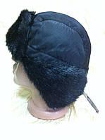 Мужская чёрная ушанка из  плащёвки  с искусственным  мехом под норку