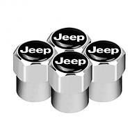 Ковпачки на ніпель з логотипом марки авто Jeep Alitek Short Silver Джип (4 шт)