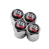 Ковпачки на ніпель з логотипом марки авто Audi Alitek Short Silver Ауді (4 шт)