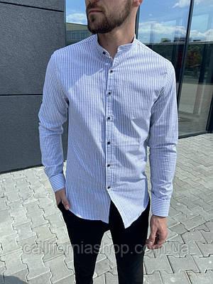 Мужская голубая рубашка в полоску из льна без воротника с длинным рукавом летняя